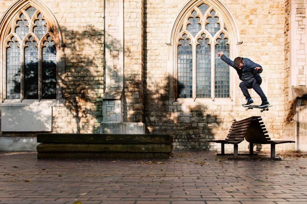Danny Brady, quick ollie up to backside 180, Barbican, London, 2016. Ph. Mike O'Meally