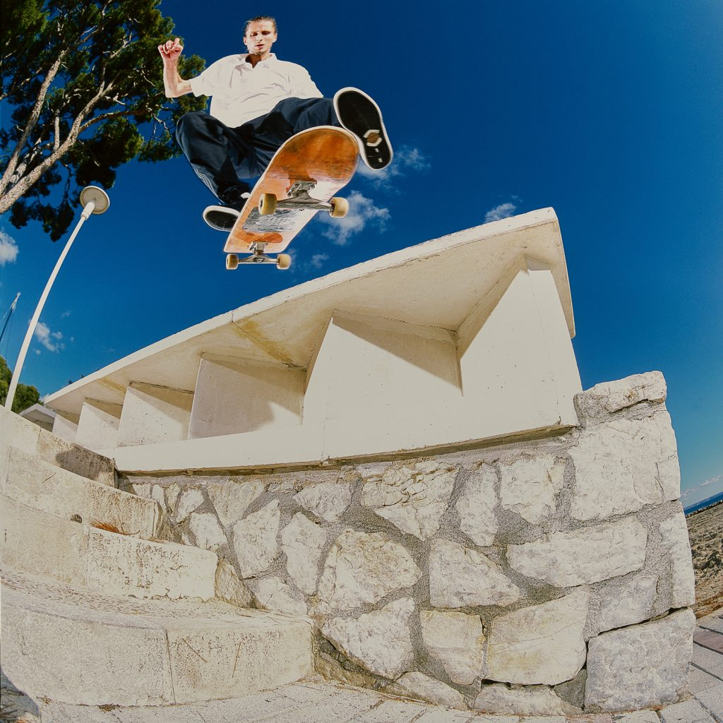 Kickflip backside smith grind, Mallorca. Ph. Zander Taketomo