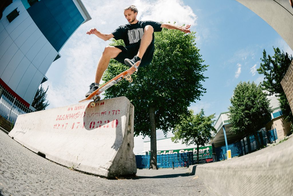 Switch crooked grind to ride in, London. Ph. Sam Ashley
