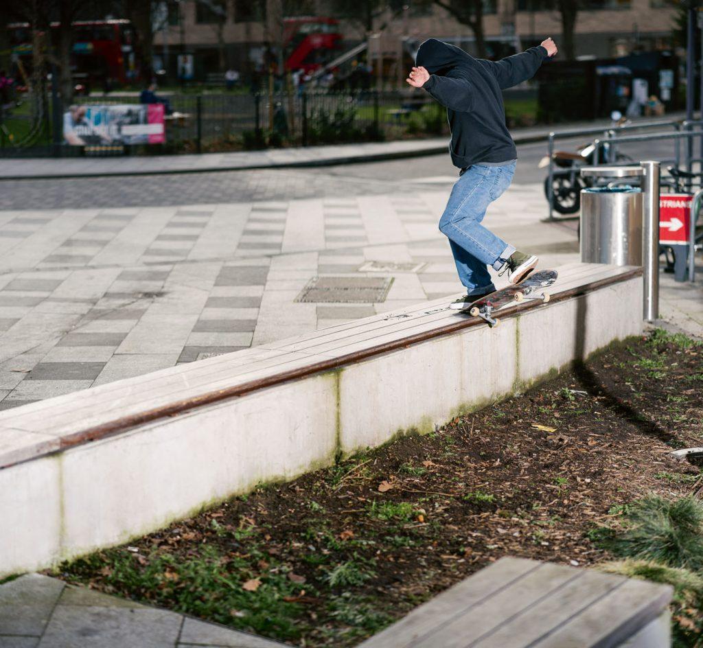 Frontside crooked grind London Ph. Alex Irvine