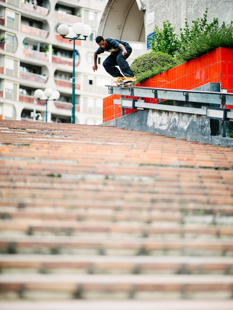 Kyle Wilson, backside 50-50 to step ride, Paris. Ph. Sam Ashley.