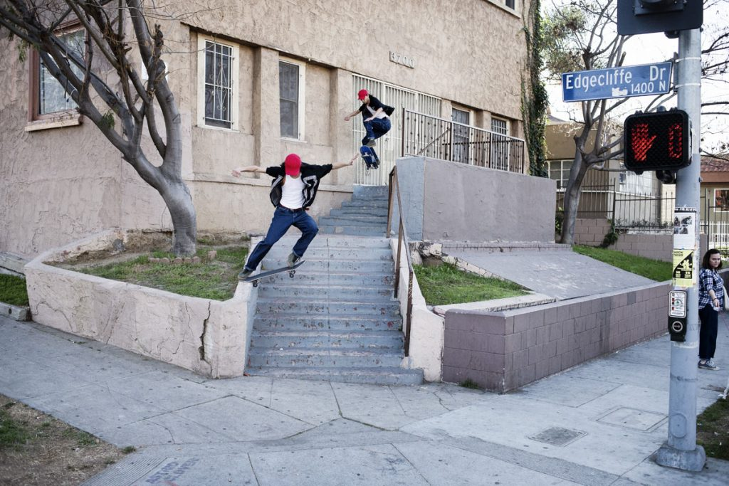 Julian Kimura, ollie then frontside tailslide, LA. Ph: Alex Pires.