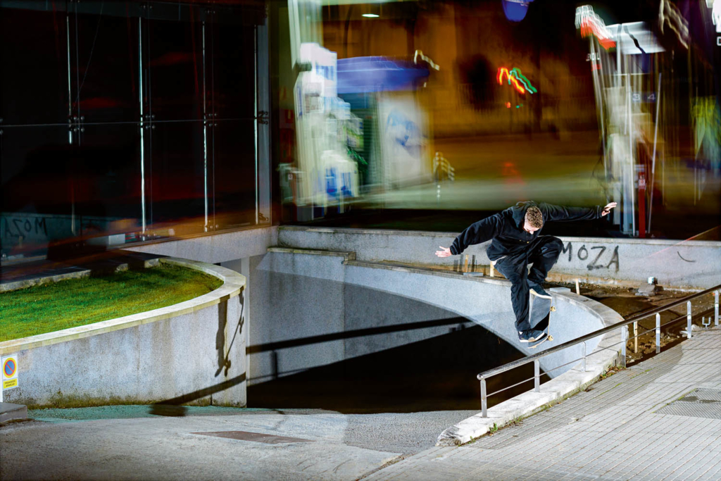 Martin Sandberg, backside 180 nosegrind pop-over, Barcelona.  Ph. Gerard Riera
