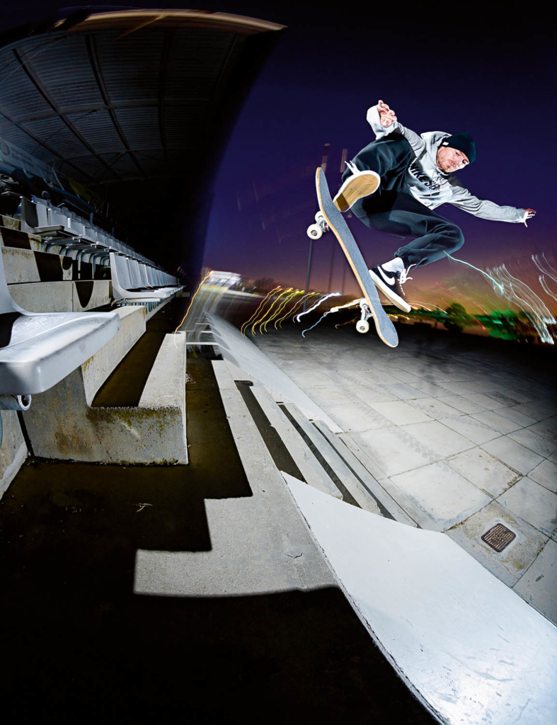 Erik J Pettersson, kickflip to fakie over the stairs, Barcelona. Ph. Gerard Riera