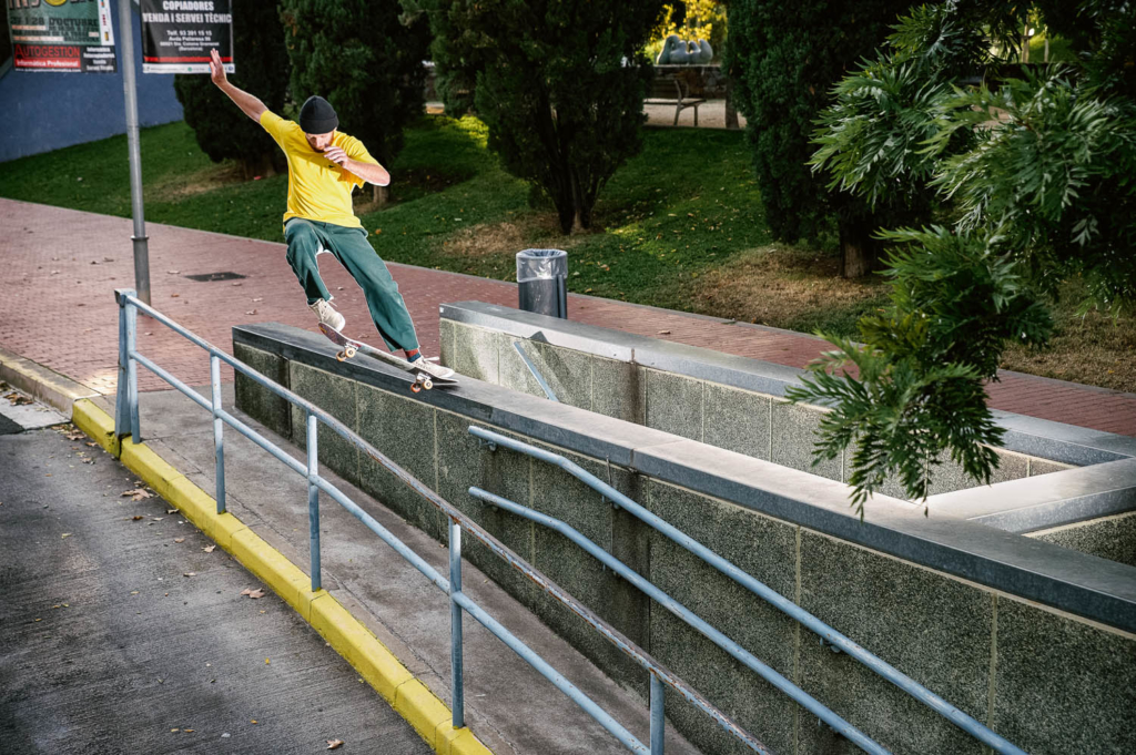 Barney Page, frontside tailslide popping over the rail to fakie, Santa Coloma. Ph. Fabien Ponsero