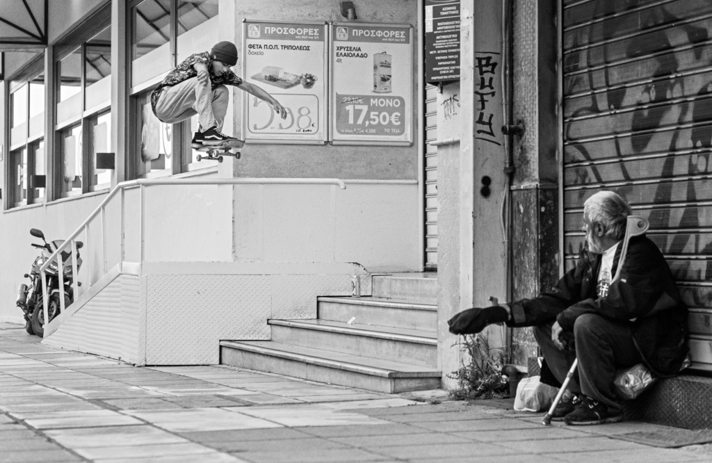 Lex van der Does, ollie onto the lowest step.
