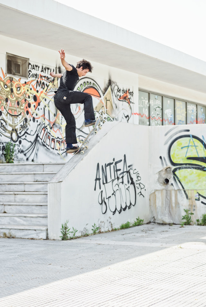 Manos Kiriakousis, switch frontside blunt.